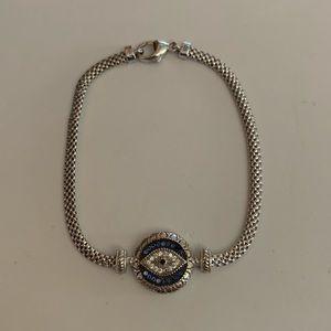Sterling Silver Blue Glass & CZ Evil Eye Bracelet